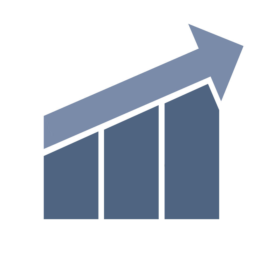 Arrow on a gradual incline symbolizing growth